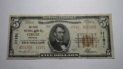 5 1929 Circle Montana Mt National Currency Bank Note Bill Charter 11101 Rare