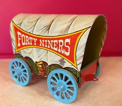 Antique Tin Lithograph Forty Niners Covered Wagon Metal Toy Company Us