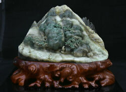 14.6 Chinese Natural Dushan Jade Carved Man Boat Tree House Mountain Statue