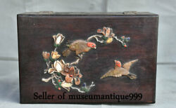 12 Old Chinese Wood Inlay Jade Dynasty Carved Flower Bird Cabinet Box Chest