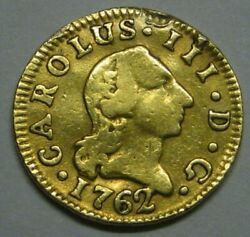 1762 Madrid 1/2 Escudo Charles Iii Spain Gold Doubloon Spanish Colonial Era