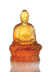 Lalique Crystal, Small Buddha Sculpture Amber Ref 10140300
