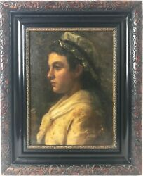 Antique 19th C Oil Painting Portrait By William Holyoake - Study Of Servant Girl