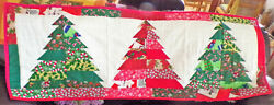 Christmas Quilted Table Runner Three Christmas Trees  By Mamie