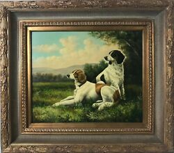 Large Oil Painting Of Brittany Spaniel Hunting Dogs Signed Gleason, Framed