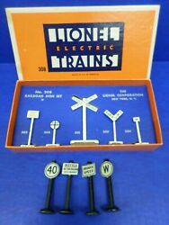 Vintage Lionel Railroad Sign Set No. 308 With 4 Extra Signs Metal Usa O Scale