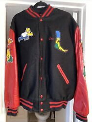 Simpsons Cast And Crew Jacket Red Leather Extremely Rare Holy Grail Vintage