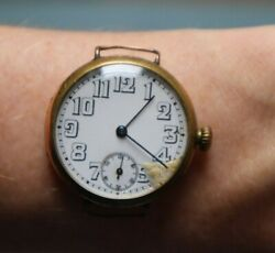 Antique Rolex Military Officer Trench White Dial Wristwatch Gold Plated Rare