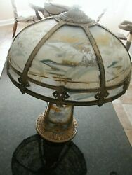 Antique Large Pittsburgh Reverse Painted Lamp 9 Ribbed Panel Lamp 3d Look Rare