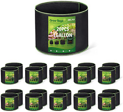 Delxo 20-pack 1 Gallon Grow Bags Heavy Duty Aeration Fabric Pots Thickened Nonwo
