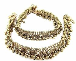 Charms Diva Antique Gold Kundan Payal Anklets For Girls And Women