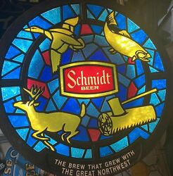 Vintage Schmidt Beer Wildlife Faux Stained Glass Light Sign