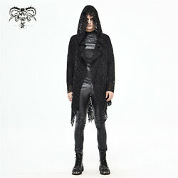 Punk Fashion Hollow Out Autumn Daily Life Darkness Men Holes Hooded Long Coat