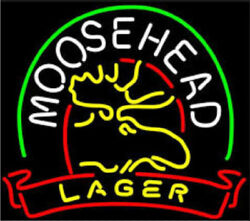 New Moosehead Lager Deer Neon Light Sign 24x20 Beer Bar Man Cave Real Glass