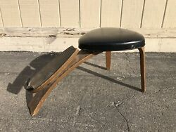 Mid Century Thonet Shoe Fitting Stool Bench Brushed Gold Metal Store 1960 1970