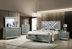 Bedroom Furniture Silver Leatherette Queen Size Bed W Led Dresser Mirror Ns 4pc