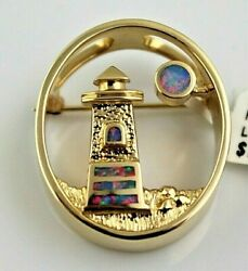 Vintage Ngl Angels Jewelry Los Angeles 14ky Gold Lighthouse Opal Pendant Brooch