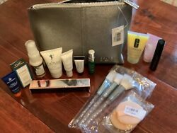 Space Nk Cosmetic Bag And Beauty Lot, Clinique Samples, Brushes, Mascara, Puffs