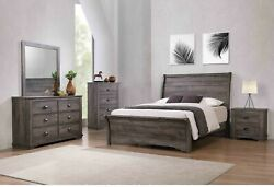 4pc Master Bedroom Set Gray Finish King Size Sleigh Curve Bed Wooden Furniture