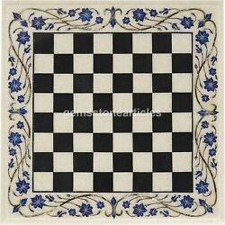 Marble White Chess Indoor Game Chess Set Board Inlaid Lapis Floral Design Decor