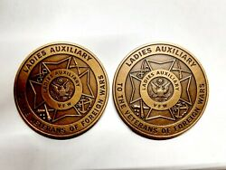 Vintage Ladies Auxiliary Vfw Veterans Of Foreign Wars Token Coin Lot Of 2 Coins
