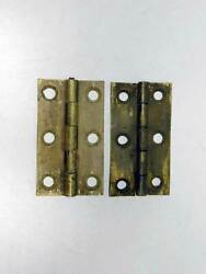 Antique Period 2 1/2 Wrought Brass Butt Hinges As Found In Original Patina