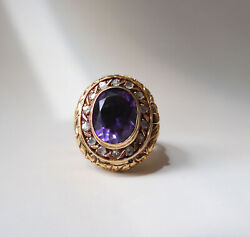 Antique Victorian 18k Gold Amethyst And Rose Cut Diamond Halo Cluster Poison Ring