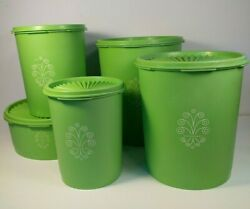 Tupperware Apple Green 4 Piece Nesting Servalier Canister Set And Container 1204