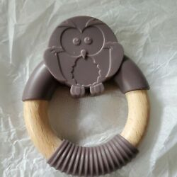Bessentials Owl Wood Silicone Teether Ring Bpa Free