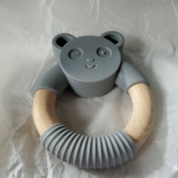 Bessentials Panda Wood Silicone Teether Ring Bpa Free