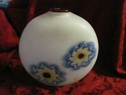 Modern Art Glass Pillow Vase Signed Nad '05 White Blue Red Frosted