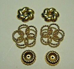 Lot Of 3 Pairs Vintage 14k Yellow Gold Earring Jackets Enhancers
