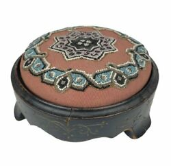 Beautiful Antique Victorian Round Beaded Hand Carved Foot Stool