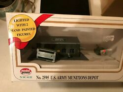 Used Model Power 2595 N Scale Munitions Depot Built Up Light W/ 2 Figures Hh