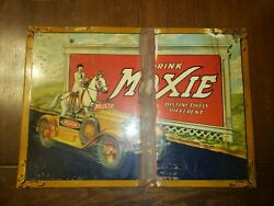 Vintage Original 1933 Rare Drink Moxie Tin Over Cardboard Sign With Horse And Car