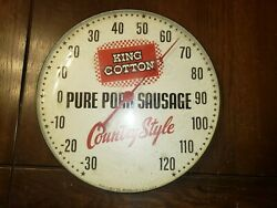 Vintage King Cotton Pam Clock Co Glass Dome Advertising Thermometer 12 Round