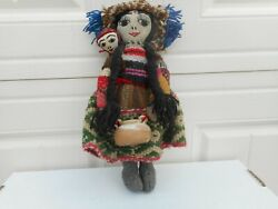 Antique Vintage Peruvian Folk Art Chancay Doll With Clay Pot, 10.5 Tall