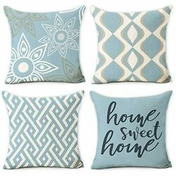 Home Decorative Pillow Covers 18 x 18 Inch Set of 4 Modern 18x18in Blue