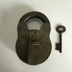 Brass Padlock Or Lock With Key Old Or Antique Big Sized And Heavy