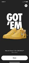 Nike Air Force 1 Low Off White University Gold Size 13 Ica Boston Dd1876-700