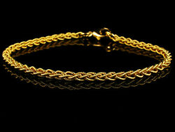 London Gold Signed Fine Solid 18k Yellow Gold Braided Woven Link Bracelet