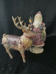 Vintage 14 Wood And Frosted Glitter Santa And Reindeer Natural Calming Colors