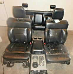 2004-2008 Ford F150 Seat Set W/console Black Leather Power Memory