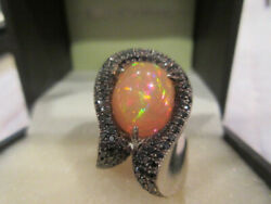 14kt White Gold Black Diamond And Australian Opal Ring - Size 6 - One Of A Kind