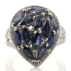 Large 4.66ct Diamond And Aaa Sapphire 18k White Gold Cluster Marquise And Round Ring