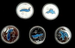 """2014-2015 """"the Great Lakes Colorized Coin Series"""" .999 Silver In Capsule And Boxed"""