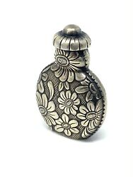 Rare Silver And 1950 France Scent Perfume Flower Bottle