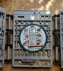 Vintage 1955 Ford Industrial Engines And Power Units Porcelain Gas And Oil Sign