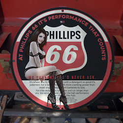 Vintage 1969 Phillips 66 Multinational Energy Company Porcelain Gas And Oil Sign