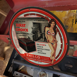 Vintage 1945 Philco Thirty Industrial Storage Battery Porcelain Gas And Oil Sign